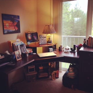 My first home office . . . and it looks right over the water from the second floor! Beeeaaauuutiful!!!